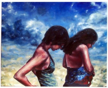 Two Girls, Oil on Canvas,